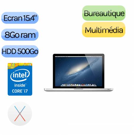 Apple MacBook Pro A1286 (EMC 2556) 15.4'' i7 2.3GHz 8Go 500Go - GT650M - Grade B - Ordinateur Portable