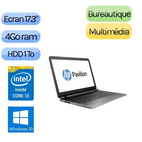 HP PAVILION 17-G128NF - Windows 10 - i3 4Go 1000Go - Webcam - 17.3 - Pc Portable Reconditionne