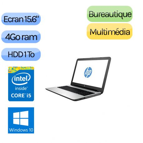 HP 15-AC119NF - Windows 10 - i5 4Go 1000 Go - Webcam - 15.6 - Ordinateur PC Portable