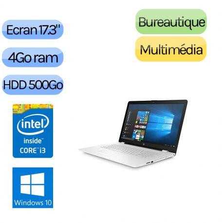 HP PAVILION 17-BS090NF - Windows 10 - i3 4Go 500Go - Webcam - 17.3 - Pc Portable Reconditionne