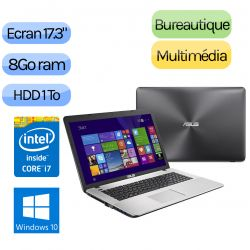 Asus R752LK-TY017H - Windows 10 - i7 8Go 1To + 24Go SSD - Webcam - 17.3 - 850M - Ordinateur Portable PC
