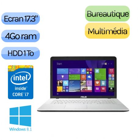 Asus X751LJ-TY118H - Windows 8.1 - i7 4Go 1000Go - GT920M - Webcam - 17.3 - Blanc - Ordinateur Portable PC
