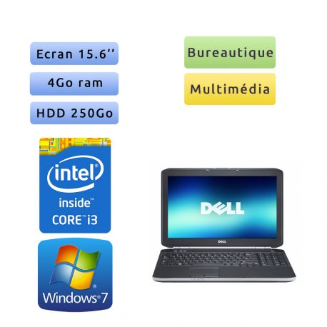 Dell Latitude E5520 - Windows 7 - i3 4Go 250Go - 15.6 - Webcam - Ordinateur Portable PC