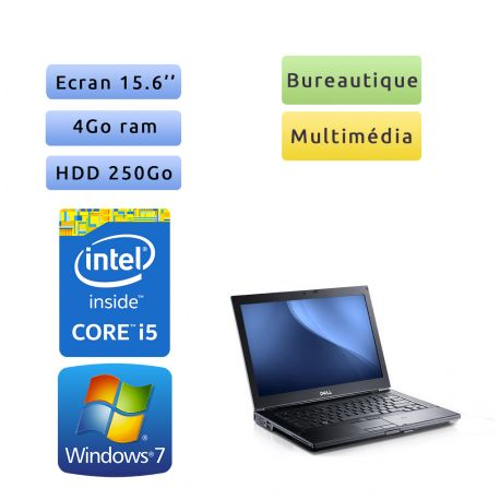 Dell Latitude E6510 - Windows 7 - i5 4GB 250GB - 15.6 - Webcam - Ordinateur Portable PC
