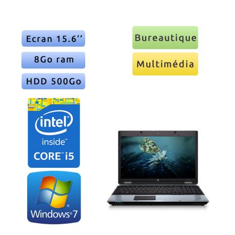 HP Compaq 6550b - Windows 7 - i5-520M 8GB 500GB - 15.6 - Webcam - Ordinateur Portable PC