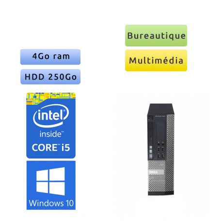 Dell Optiplex 7010 SFF - Windows 10 - i5 4Go 250Go - Ordinateur Tour Bureautique PC