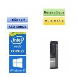 Dell Optiplex 7010 SFF - Windows 10 - i5 16Go 500Go SSD - Ordinateur Tour Bureautique PC