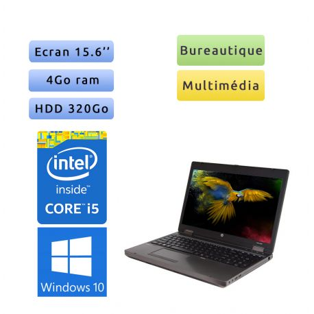 HP Compaq 6560b - Windows 10 - i5 4Go 320Go - 15.6 - Webcam - Ordinateur Portable PC