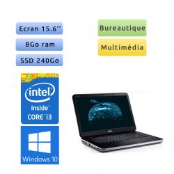 Dell Vostro 2520 - Windows 10 - i3 8GB 240GB SSD - 15.6 - Webcam - Ordinateur Portable