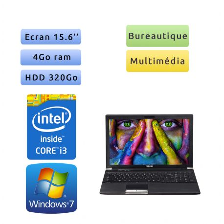 Toshiba Tecra R850 - Windows 7 - i3 4Go 320 Go - Webcam - 15.6 - Ordinateur Portable