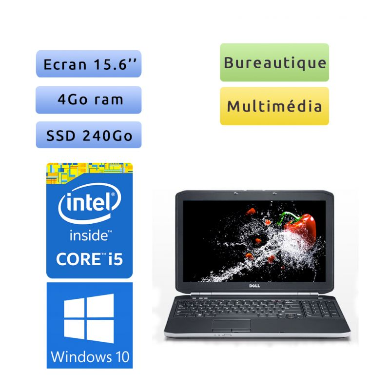 """PC portable Dell Windows 10 - i5 4GB 240GB SSD 15.6"""" - Ordinateur"""