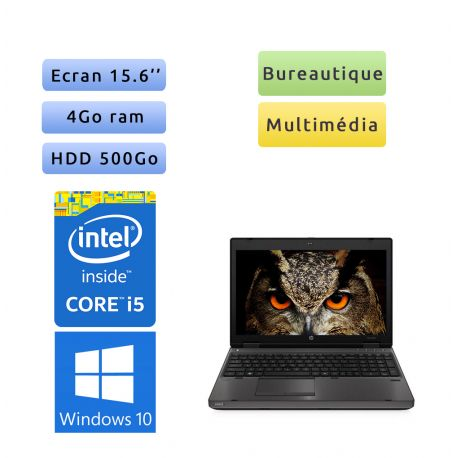 HP Compaq 6560b - Windows 10 - i5 4Go 500Go - 15.6 - Webcam - Ordinateur Portable PC