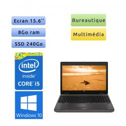HP Compaq 6560b - Windows 10 - i5 8Go 240Go SSD - 15.6 - Webcam - Ordinateur Portable PC