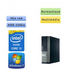 Dell Optiplex 390 SFF - Windows 7 - i3 4Go 250Go - Clavier/Souris - Ordinateur Tour Bureautique PC
