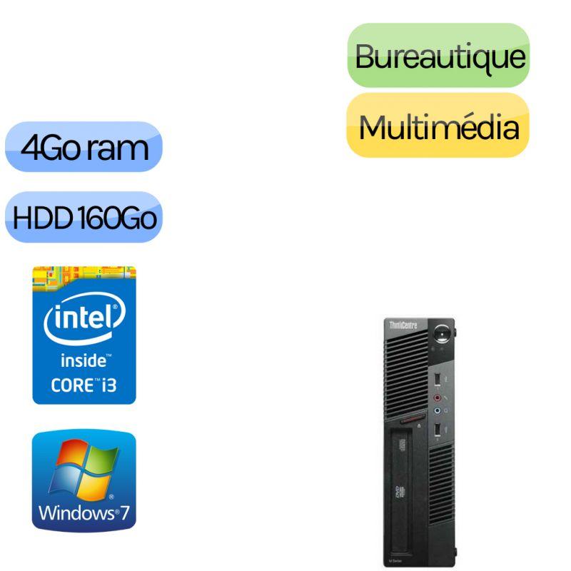 Lenovo ThinkCentre M90 Eco USFF - Windows 10 - i3 - 4GB 160GB - Poste Bureautique Faible encombrement