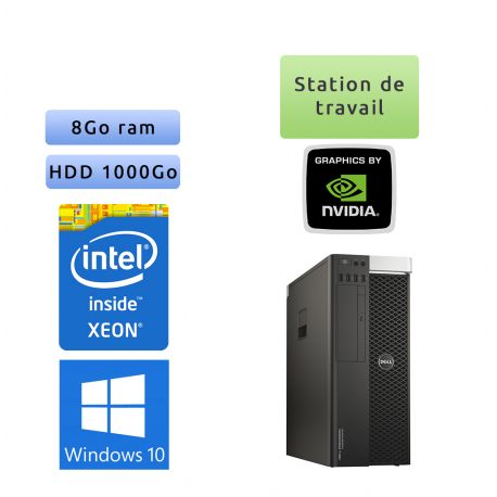 Dell Precision T5810 - Windows 10 - E5-1650v3 8Go 1To - K620 - Ordinateur Tour Workstation PC