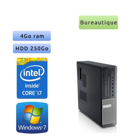 Dell Optiplex 790 SFF - Windows 7 - i7 4Go 250Go - Ordinateur Tour Bureautique PC