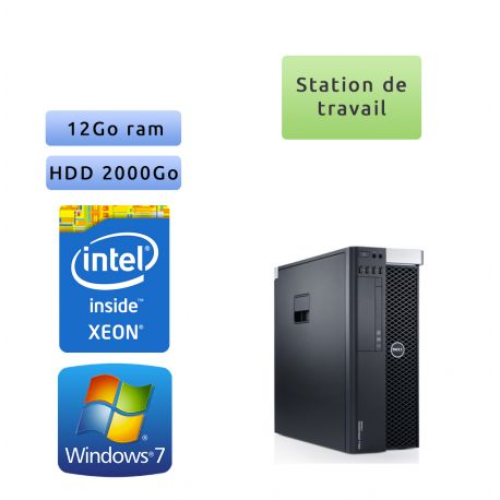 Dell Precision T3600 - Windows 7 - E5-1620 12GB 2000GB - Ordinateur Tour Workstation PC
