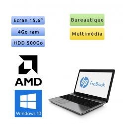 HP ProBook 4545S - Windows 10 - A4-4300M 4Go 500Go - 15.6 - Webcam - Grade B - Ordinateur Portable PC