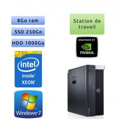 Dell Precision T3600 - Windows 7 - E5-1620 8GB 250GB SSD + 1000GB - Ordinateur Tour Workstation PC