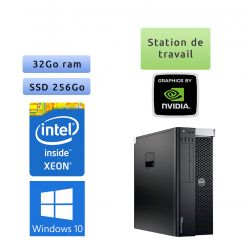 Dell Precision T3610 - Windows 10 - E5-1650v2 32Go 256Go SSD - K2000 - Ordinateur Tour Workstation PC
