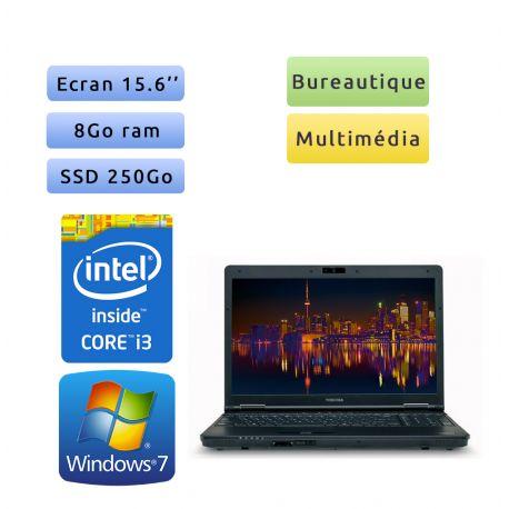 Toshiba Tecra A11 - Windows 7 - i3 8Go 250 Go SSD - Webcam - 15.6 - Ordinateur Portable
