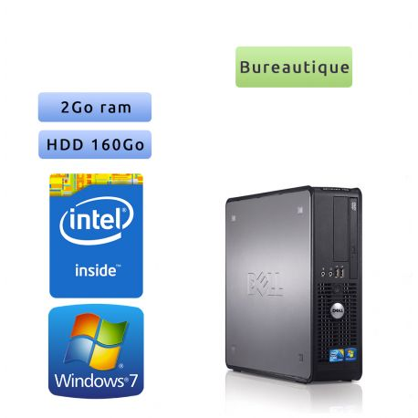Dell Optiplex 780 DT - Windows 7 - CD 2.8 2GB 160GB - Ordinateur Tour Bureautique PC