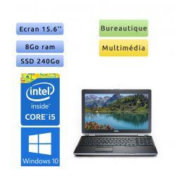 Dell Latitude E6520 - Windows 10 - i5 8Go 240Go SSD - 15.6 - Webcam - Ordinateur Portable PC