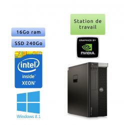 Dell Precision T5610 - Windows 8.1 - E5-2650v2 16GB 240GB SSD - Ordinateur Tour Workstation PC