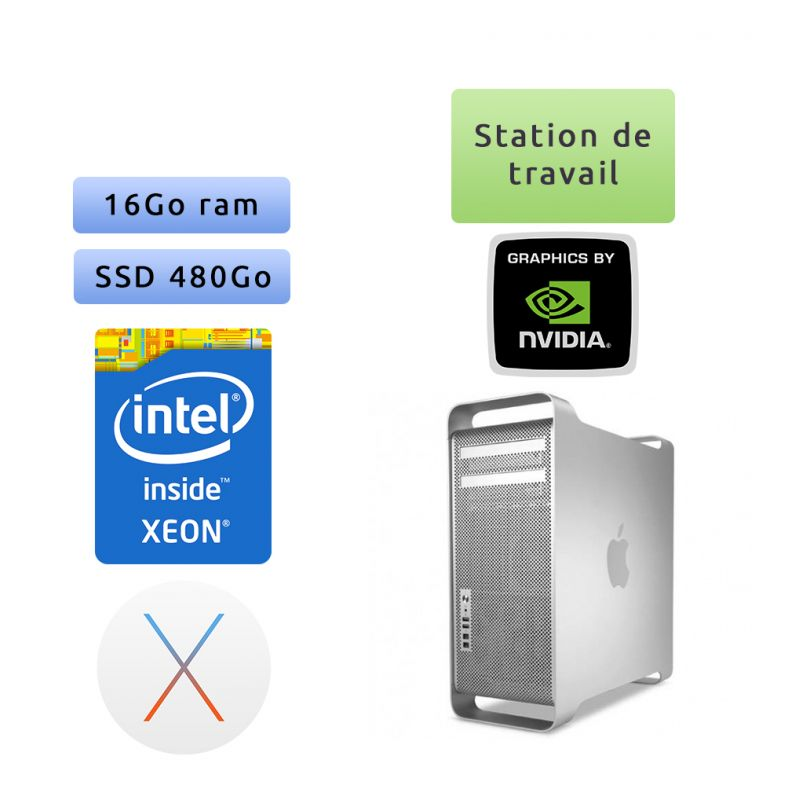 Apple Mac Pro Eight Core - A1289 emc 2314 - 16Go 480Go SSD - MacPro4,1 - Station de travail