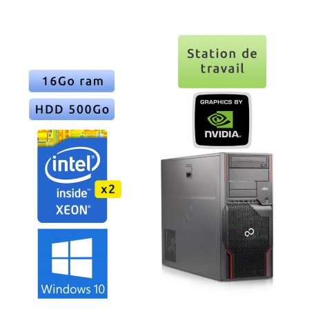 Fujitsu Celsius R920 - Windows 10 - 2*E5-2640 16Go 500Go - Quadro 4000 - Station de travail