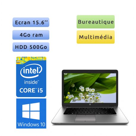 HP EliteBook 850 G1 - Windows 10 - i5 4Go 500Go - 15.6 - Pc Portable Reconditionne