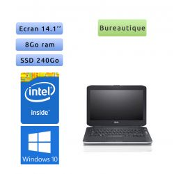 Lot Teletravail - 10 x Dell Latitude E5430 - Windows 10 - 1,9Ghz 8Go 240Go SSD - 14.1 - Webcam - Ordinateur Portable