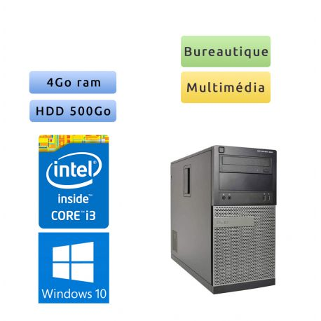 Dell Optiplex 390 MT - Windows 10 - i3 4Go 500Go - Ordinateur Tour Bureautique PC