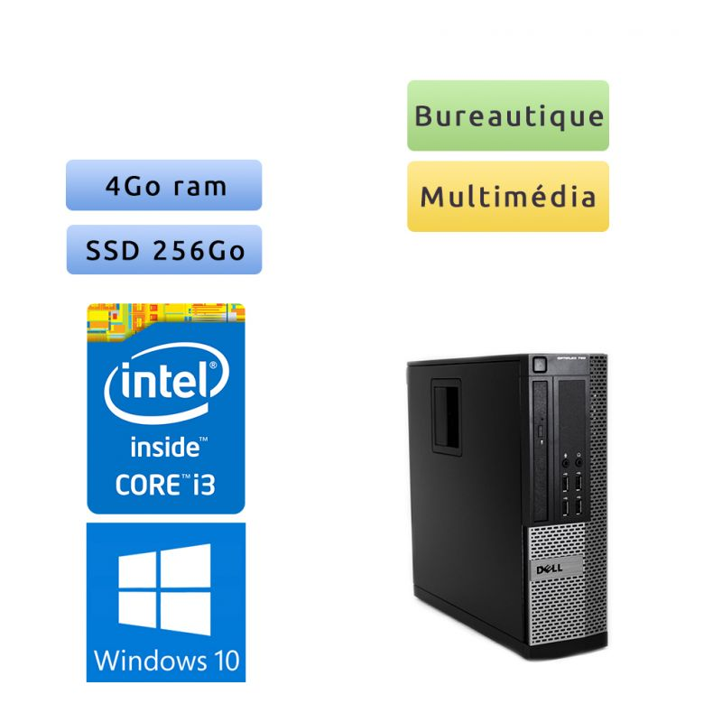Dell Optiplex 790 SFF - Windows 10 - i3 4Go 256Go SSD - Ordinateur Tour Bureautique PC