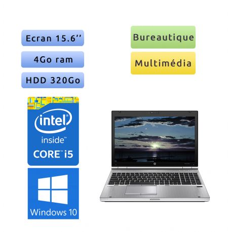 HP EliteBook 8570p - Windows 10 - i5 4Go 320Go - 15.6 - Webcam - Station de Travail Mobile PC Ordinateur