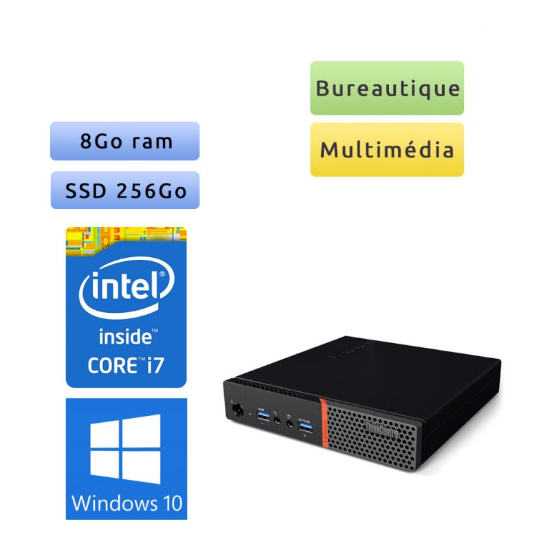 Lenovo ThinkCentre M700 Tiny - Windows 10 - i7 8Go 256Go SSD - PC Tour Bureautique Ordinateur