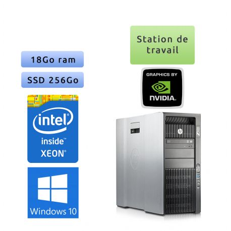 HP Workstation Z820 - Windows 10 - E5-2637 v2 18Go 256Go SSD - K4000 - Ordinateur Tour Workstation PC
