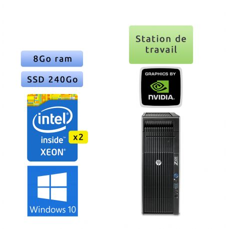 HP Workwtation Z620 - Windows 10 - 2*E5-2609 v2 8Go 240Go SSD - GTX 1660 Ti - Ordinateur Tour Workstation