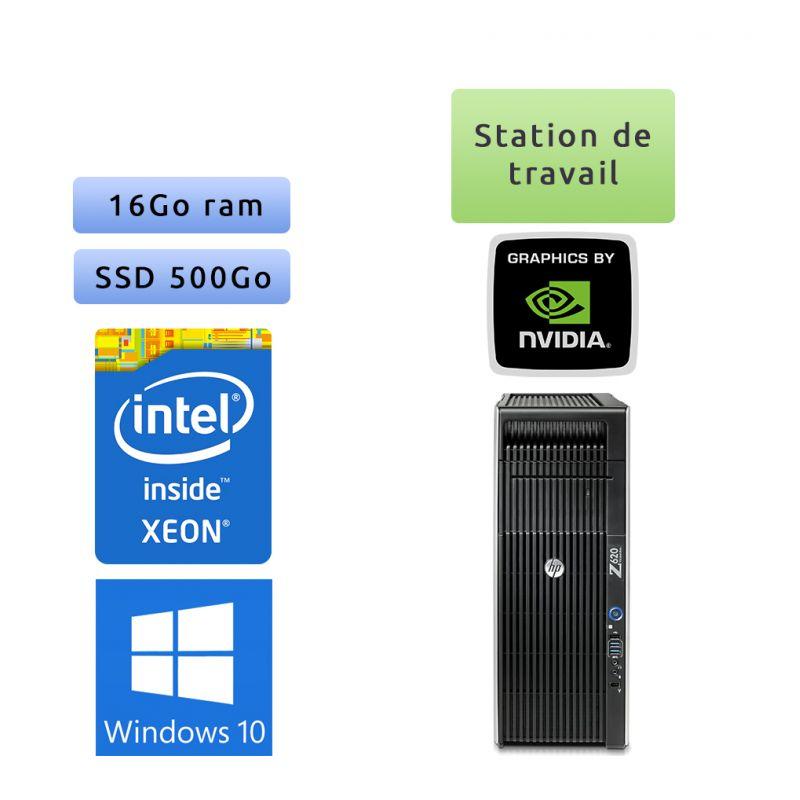 HP Workwtation Z620 - Windows 10 - E5-2609 v2 16Go 500Go SSD - NVS 510 - Ordinateur Tour Workstation