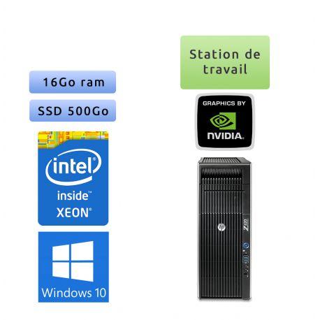 HP Workstation Z620 - Windows 10 - E5-2609 v0 16Go 500Go SSD - Quadro 2000 - Ordinateur Tour Workstation
