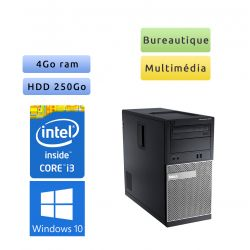 Dell Optiplex 3010 MT - Windows 10 - i3 4Go 250Go - Ordinateur Tour Bureautique PC