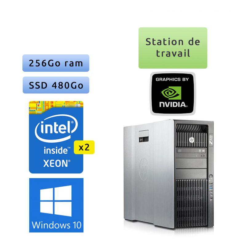 HP Workstation Z820 - Windows 10 - 2*E5-2670 256Go 480Go SSD - Quadro 2000 - Ordinateur Tour Station de travail PC