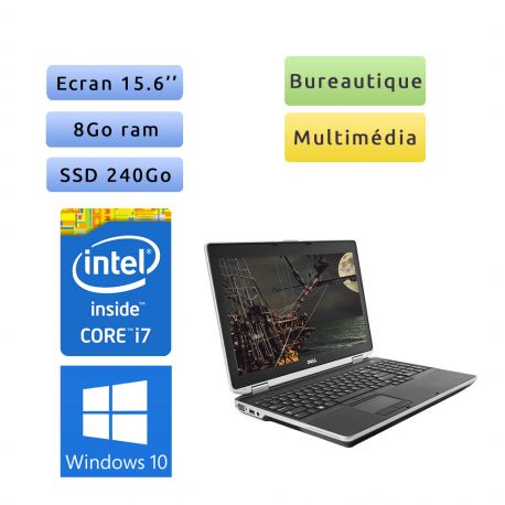 Dell Latitude E6530 - Windows 10 - i7 8Go 240Go SSD - 15.6 - Webcam - Ordinateur Portable PC