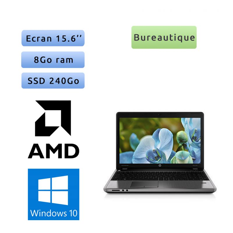 HP ProBook 4545s - Windows 10 - A4 4300M 8Go 240Go SSD - 15.6 - Webcam - Grade B - Ordinateur Portable PC