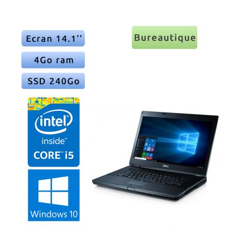 Dell Latitude E6410 - Windows 10 - 4Go 240Go SSD - 14.1 - Grade B - Ordinateur Portable PC