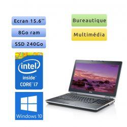Dell Latitude E6520 - Windows 10 - i7 8Go 240Go SSD - 15.6 - webcam - Ordinateur Portable