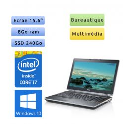 Dell Latitude E6520 - Windows 10 - i7 8Go 240Go SSD - 15.6 - webcam - Ordinateur Portable