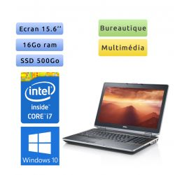 Dell Latitude E6520 - Windows 10 - i7 16Go 500Go SSD - Webcam - 15.6 - Ordinateur Portable