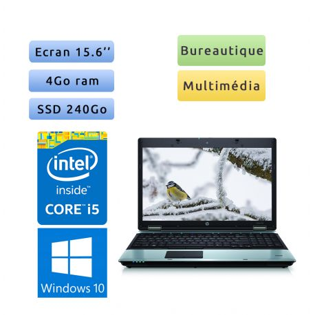 HP Compaq 6550b - Windows 10 - i5 4Go 240Go SSD - 15.6 - Ordinateur Portable PC